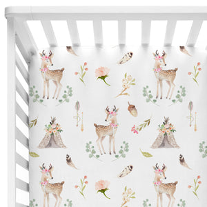 Blakely's Boho Woodland Doe Crib Sheet with Acorns and Teepees