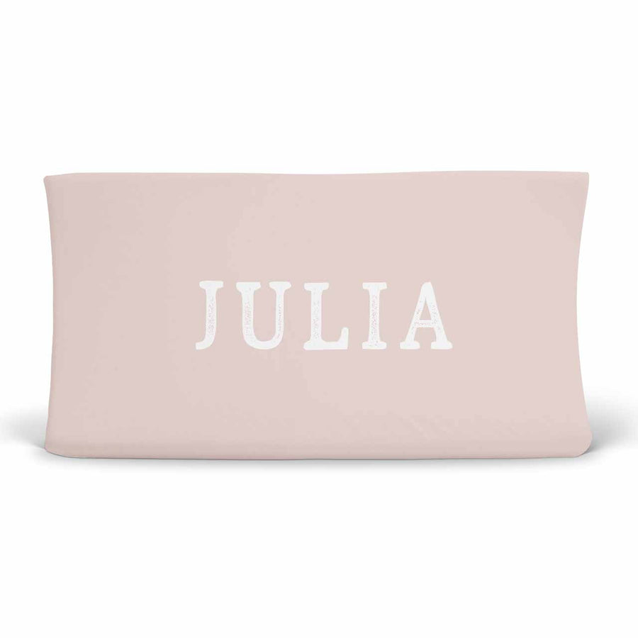 Solid Blush with White Script Personalized Baby Name Changing Table Cover in Soft Jersey Knit