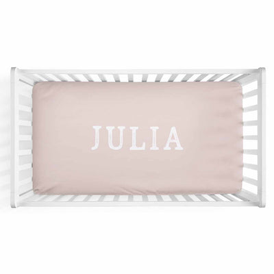 Personalized Baby Name Blush Color Jersey Knit Crib Sheet in Block Print Style