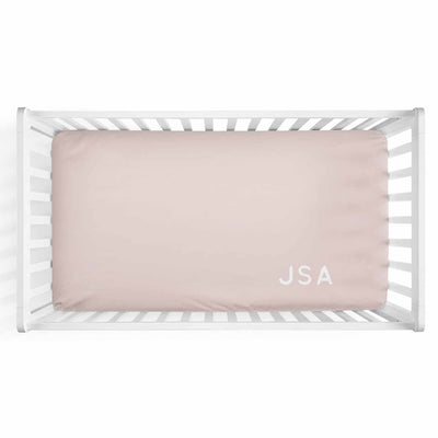 Personalized Baby Name Blush Color Jersey Knit Crib Sheet in Corner Initials Style