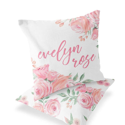 Blush Rose Custom Name Floral Print on the front of accent pillow