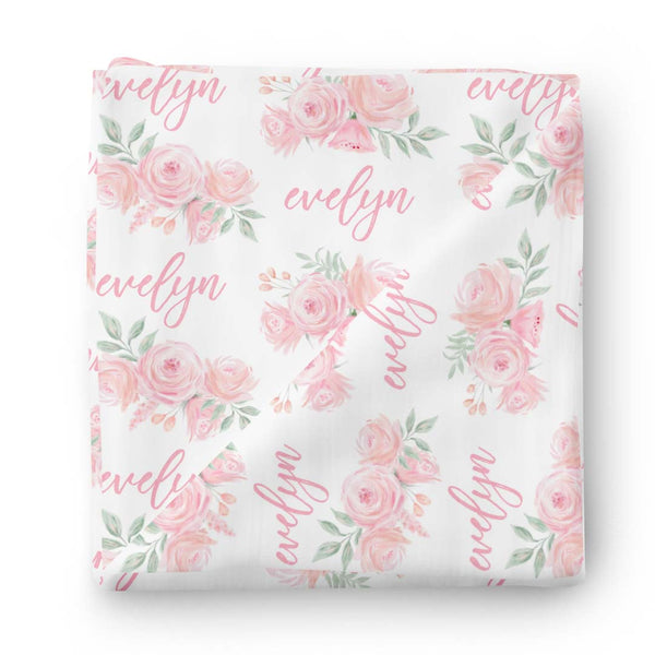 sweet pink roses personalized swaddle