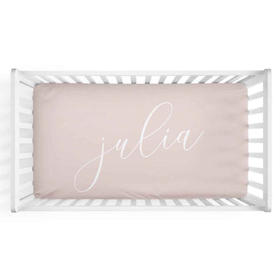 Personalized Baby Name Blush Color Jersey Knit Crib Sheet in Centered Script Style