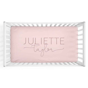 personalized crib sheet blush pink