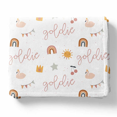 boho toddler girl nap blanket with name