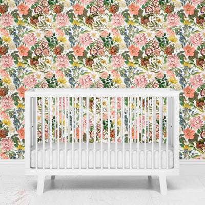 botanical floral wallpaper for the nursery