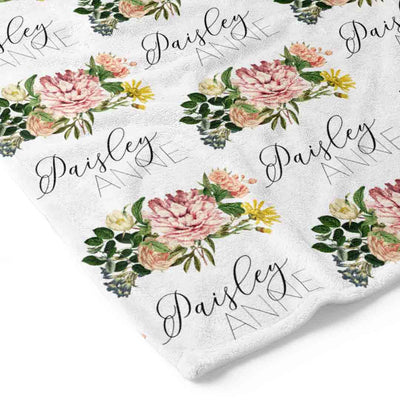 Brinley's Botanical Floral Baby Name Toddler Blanket