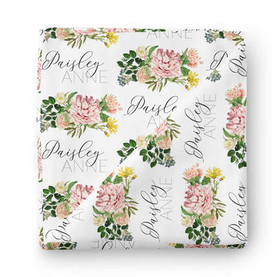 botanical garden floral baby name swaddle
