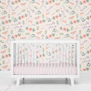 Britt's Blush Boho Floral Nursery Removable Wallpaper