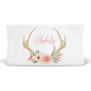 Britt's Boho Floral Antler Personalized Fitted Changing Pad Cover