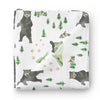 boy woodland swaddle with bears and mountains