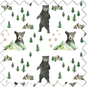 Bear and Mountain Fabric Swatch for your Woodland Nursery