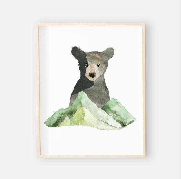 baby bear framed woodland wall art for the nursery