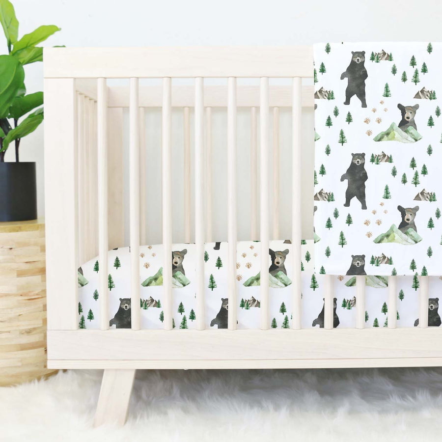 Brody's Bear & Mountain Woodland Adventure Crib Sheet