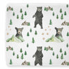 Woodland Mountain adventure cotton changing pad cover featuring trees and bears