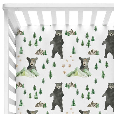 bear and mountain crib sheet in green and white