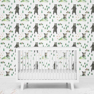 Brody's Bear and Mountain Boy Nursery Wallpaper