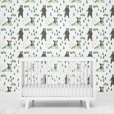 Bear and Mountain Nursery Wallpaper