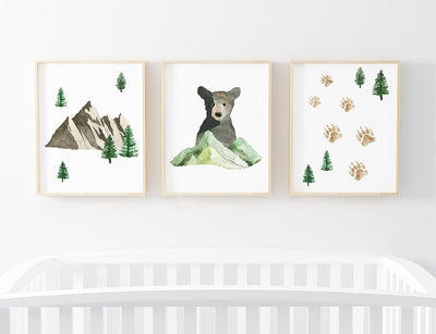woodland nursery art grouping with bear, mountain, and tracks