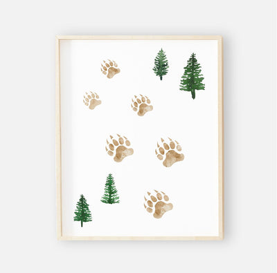 bear tracks printable nursery wall art