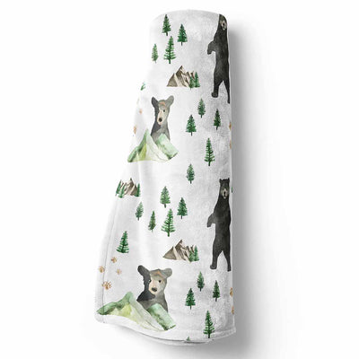 Woodland Boy Baby BLanket with a bear and mountains