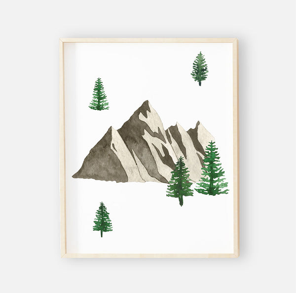 Mountain & Trees Woodland Nursery Wall Art