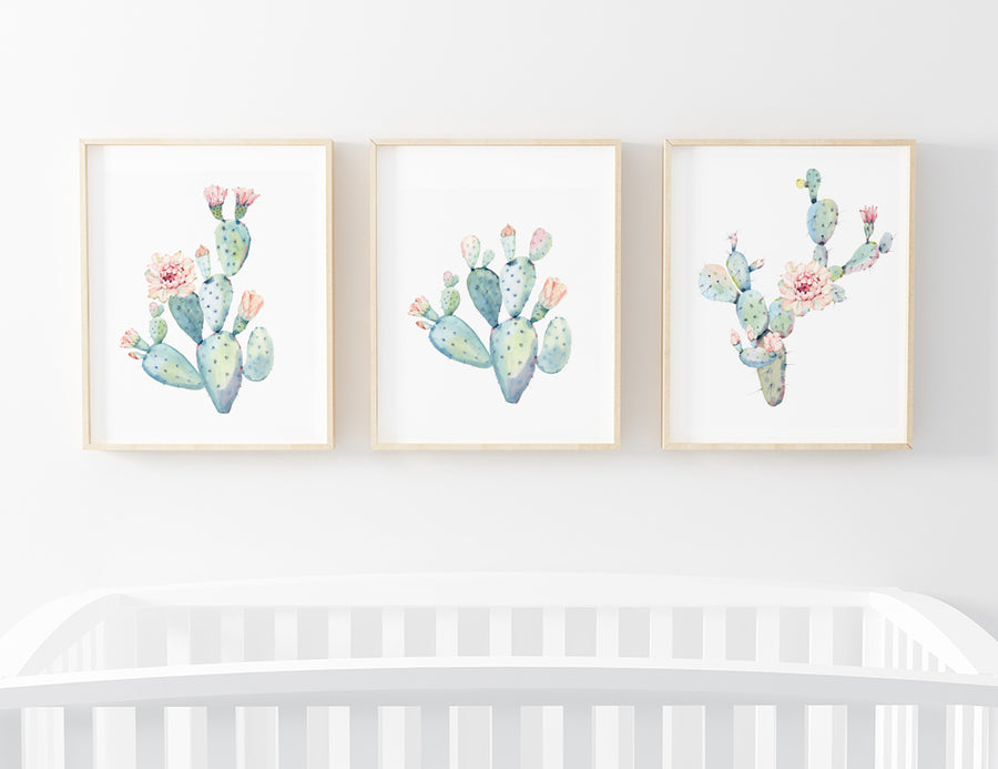 group of watercolor cactus floral prints