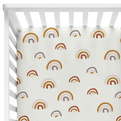 Cannon's Earthy Neutral Rainbow Crib Sheet Bedding for the nursery