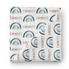 Cannon's Blue Earthy Rainbow Personalized Swaddle Blanket