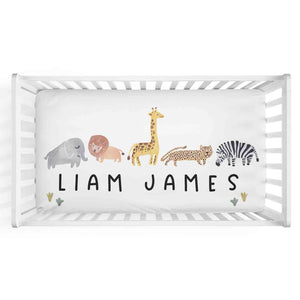 safari themed crib sheet with baby name