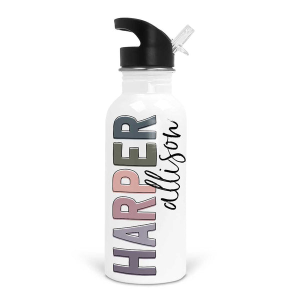 dusty colors girls water bottle for school with name