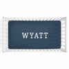 Personalized Baby Name Dark Navy Color Jersey Knit Crib Sheet in Block Print