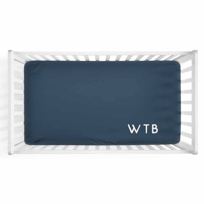 Personalized Baby Name Dark Navy Color Jersey Knit Crib Sheet in Corner Initials Style