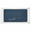 Personalized Baby Name Dark Navy Color Jersey Knit Crib Sheet in Swash Line Script