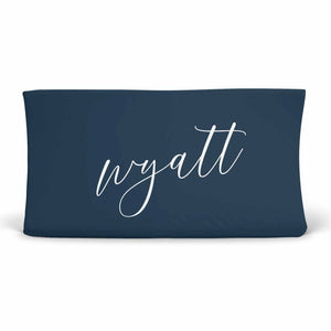 Solid Dark Navy Changing Table Cover with Custom White Block Print Baby Name