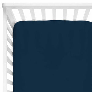 Solid Navy Knit Crib Sheet
