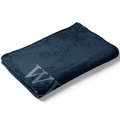 Folded Dark Navy Color Story Personalized Name Soft Fleece Toddler Throw Blanket