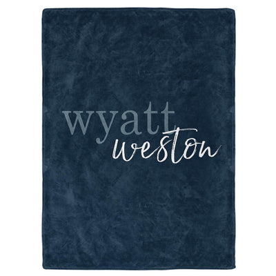 Dark Navy Color Story Personalized Name Soft Fleece Toddler Throw Blanket