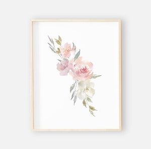 Delaney Dusty Blush Floral Digital Wall Art
