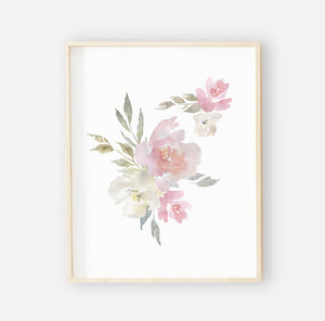 Delaney Dusty Blush Floral Digital Wall Art 2