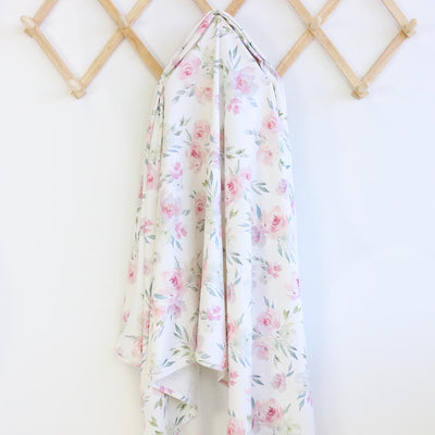 delaney's dusty blush floral newborn knit swaddle
