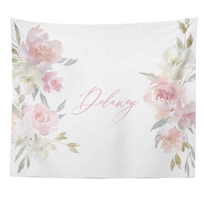 Delaney's Blush Floral Personalized Wall Tapestry