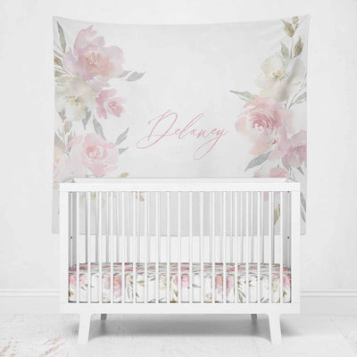 Delaney's Blush Floral Personalized Wall Tapestry on crib