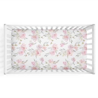Delaney's Dusty Rose Sweet Floral Crib Sheet with pink and blush