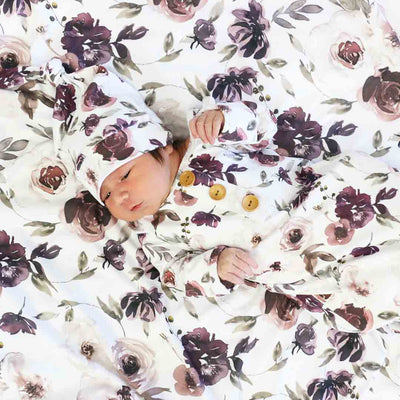 Demi's Dusty Purple Floral Oversized Swaddle Blanket*