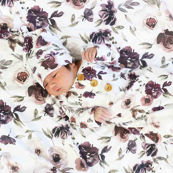 Demi's Dusty Purple Floral Oversized Swaddle Blanket