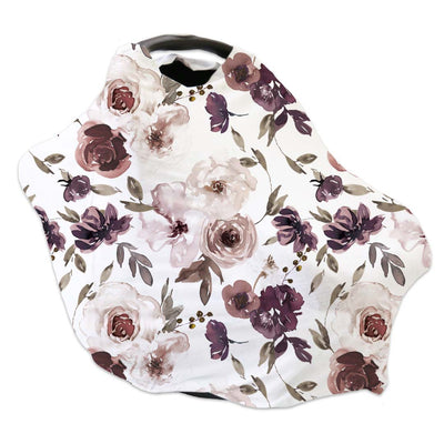 demi's dusty purple floral stretch multi-use car seat cover