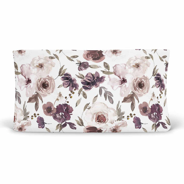 demi's dusty purple floral soft knit changing pad cover