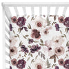 dusty purple floral crib sheet