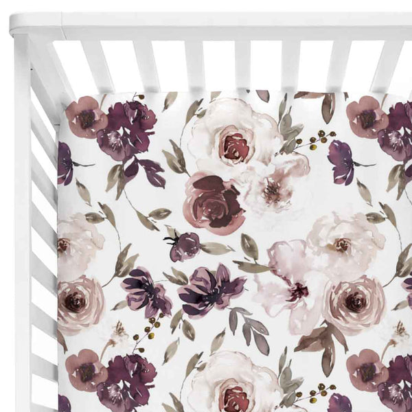 demi's dusty purple floral stretchy knit crib sheet
